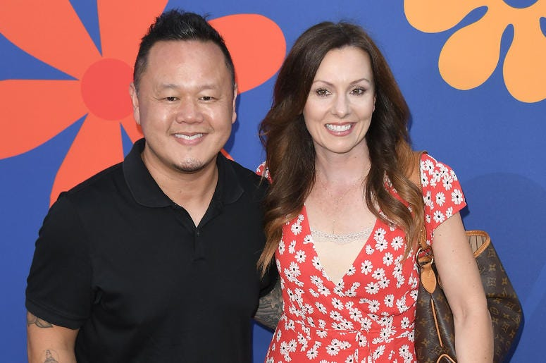 (L-R) Jet Tila and Wife Allison Tila at HGTV's A VERY BRADY RENOVATION Los Angeles Premiere held at The Garland Hotel in North Hollywood, CA on Thursday, September 5, 2019.