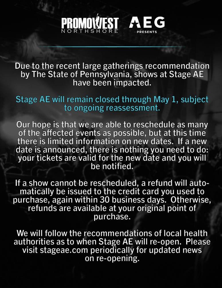Coronavirus Message from Stage AE