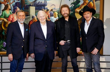 Ray Stevens, from left, Jerry Bradley, Ronnie Dunn, and Kix Brooks pose at a press conference announcing that they will be inducted into the Country Music Hall of Fame Monday, March 18, 2019, in Nashville, Tenn