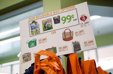 Reusable bags are shown advertised