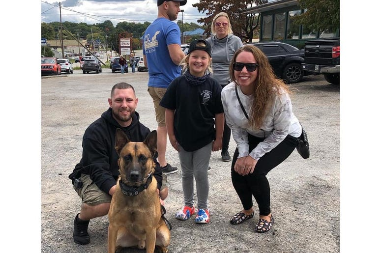 Officer Joe Martino, K9 Deuce, Kaley Bastine and Kristen Buccigrossi