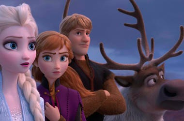 """Disney shows Elsa, voiced by Idina Menzel, from left, Anna, voiced by Kristen Bell, Kristoff, voiced by Jonathan Groff and Sven in a scene from the animated film, """"Frozen 2."""""""