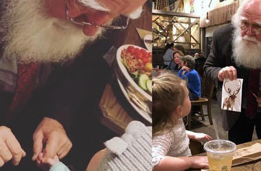 Watch 4-year-old Girl Try And Help Santa Find His Reindeer In A Restaurant