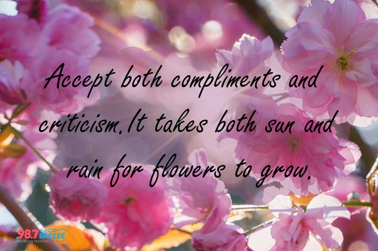 Compliments and Criticism Quote