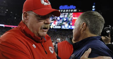 New England Patriots coach Bill Belichick and Kansas City Chiefs coach Andy Reid