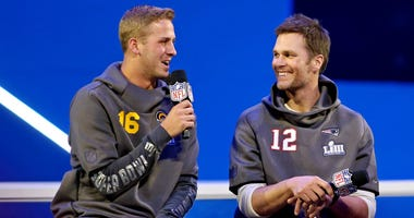 New England Patriots quarterback Tom Brady and Los Angeles Rams quarterback Jared Goff