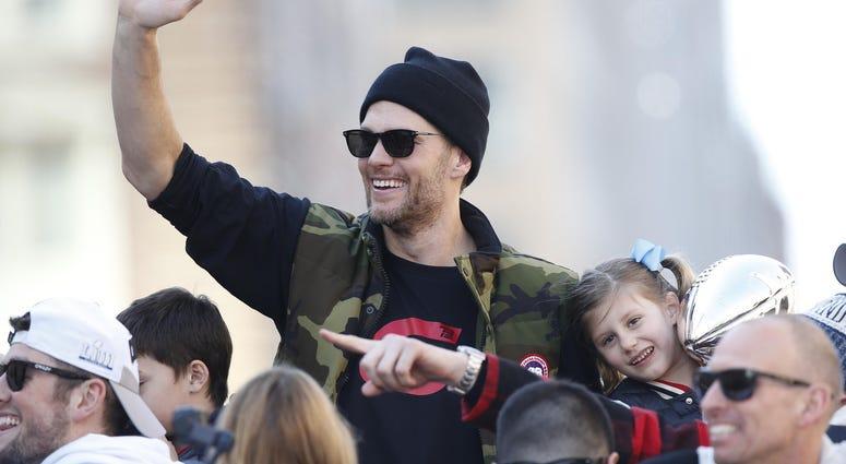 Tom Brady celebrates a Super Bowl win