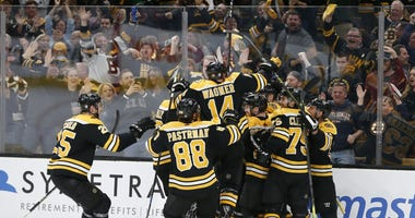 The Boston Bruins celebrate