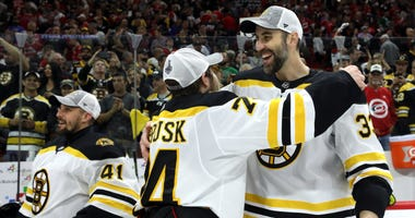 Zdeno Chara and Jake DeBrusk