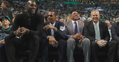 From left: Celtics Kevin Garnett, Rajon Rondo, Paul Pierce, Danny Ainge