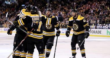 Boston Bruins forward Jake DeBrusk celebrates a goal against the Toronto Maple Leafs