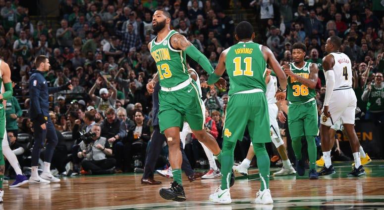 Celtics forward Marcus Morris and guard Kyrie Irving