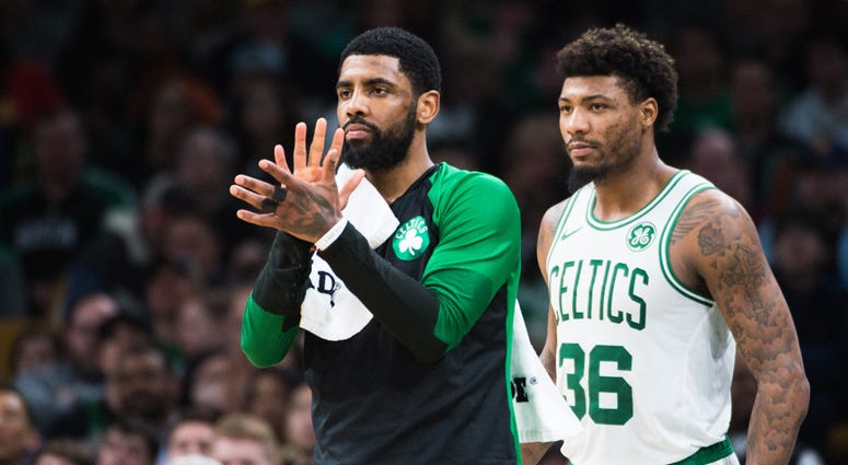 Kyrie Irving and Marcus Smart