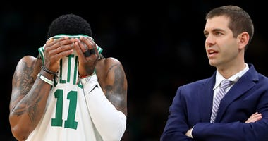 Kyrie Irving and Celtics coach Brad Stevens
