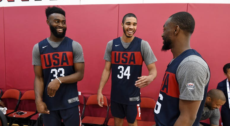 Jaylen Brown, Jayson Tatum and Kemba Walker