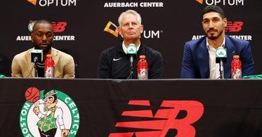 Celtics guard Kemba Walker, president of basketball ops Danny Ainge and center Enes Kanter