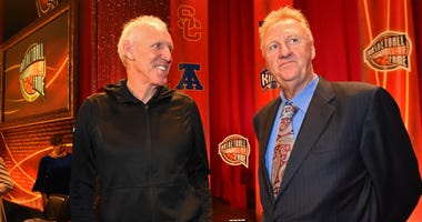 Bill Walton and Larry Bird attend the Basketball Hall of Fame