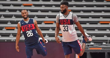 Kemba Walker and Jaylen Brown