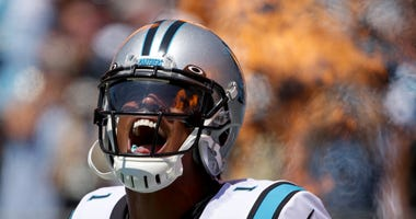 Cam Newton excited on field