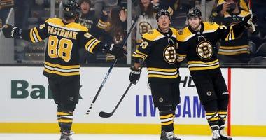 David Pastrnak Brad Marchand Jake DeBrusk Boston Bruins