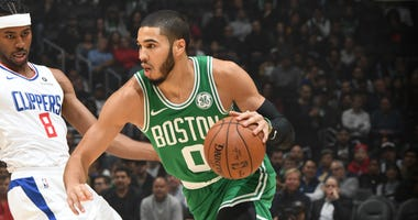 Jayson Tatum looks for an opening against the Clippers