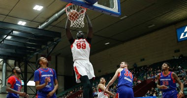 Tacko Fall throws one down against the Grand Rapids Drive