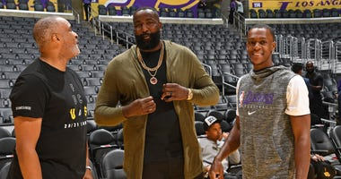 Kendrick Perkins and Los Angeles Lakers point guard Rajon Rondo