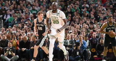 Tacko Fall runs up the floor against the Spurs