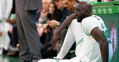 Tacko Fall gets ready to enter Friday's game for the Celtics