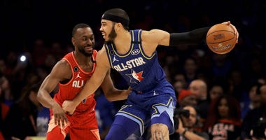 Kemba Walker guards Jayson Tatum during the 2020 NBA All-Star Game