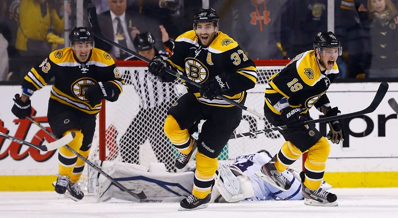 Brad Marchand, Patrice Bergeron and Tyler Seguin