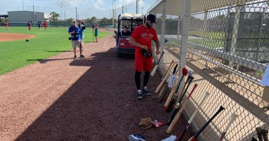 Kevin Pillar attends camp as a member of the Red Sox for the first time