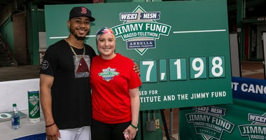 Mookie Betts and Madison Paskell, 16, B-All Leukemia.