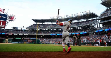 Jul 3, 2018; Washington, DC, USA; Boston Red Sox right fielder Mookie Betts (50) near the on deck circle before the game against the Washington Nationals at Nationals Park. Mandatory Credit: Brad Mills-USA TODAY Sports