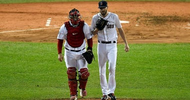 Red Sox catcher Sandy Leon and pitcher Chris Sale