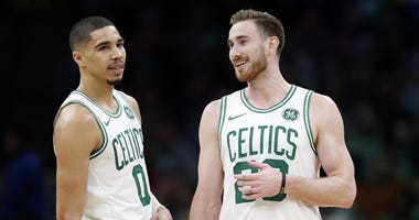 Boston Celtics forward Jayson Tatum and Gordon Hayward