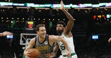 Boston Celtics guard Marcus Smart and Indiana Pacers forward Bojan Bogdanovic