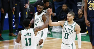 Celtics Kyrie Irving, Jaylen Brown and Jayson Tatum