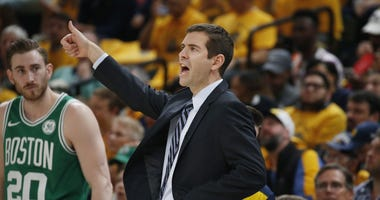 Celtics forward Gordon Hayward and coach Brad Stevens