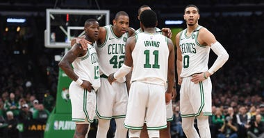 Boston Celtics Terry Rozier, Al Horford, Kyrie Irving and Jayson Tatum