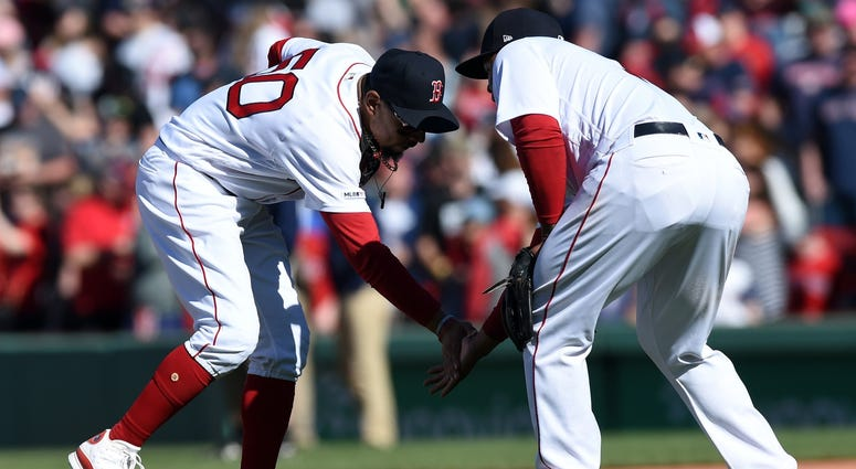 Red Sox outfielder Mookie Betts and third baseman Rafael Devers