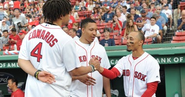 Carsen Edwards, Grant Williams and Mookie Betts