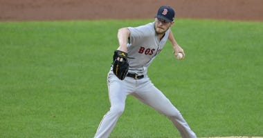 Chris Sale delivers a pitch for the Red Sox during a 2019 game