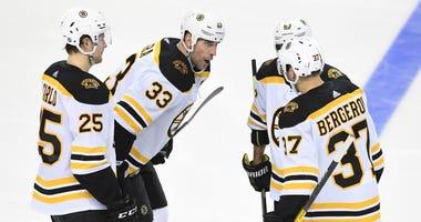 Zdeno Chara Patrice Bergeron Brandon Carlo Boston Bruins