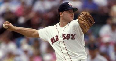 Roger Clemens delivers a pitch for the Red Sox