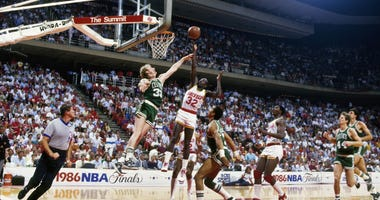 Larry Bird contests a shot in the 1986 NBA Finals