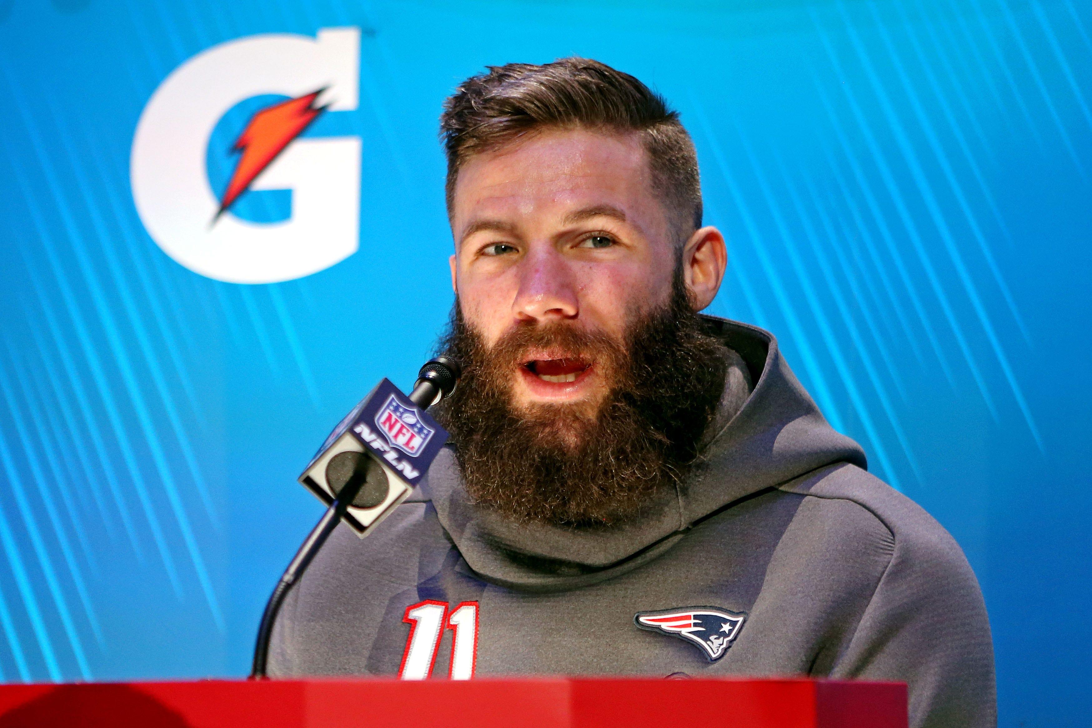 New England Patriots Wide Receiver Julian Edelman Shaves