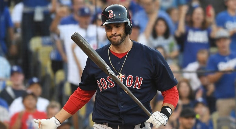 Oct 27, 2018; Los Angeles, CA, USA; Boston Red Sox outfielder J.D. Martinez (28) reacts after striking out in the first inning against the Los Angeles Dodgers in game four of the 2018 World Series at Dodger Stadium. Mandatory Credit: Richard Mackson-USA T