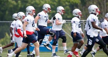 Patriots team at training camp