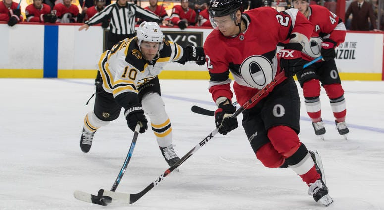 Anders Bjork Boston Bruins Ottawa Senators